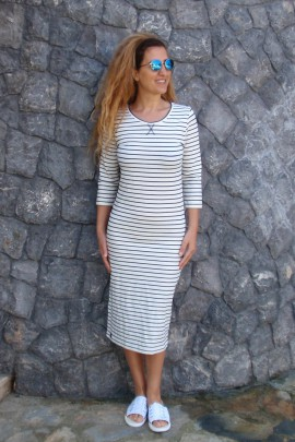 "Dress ""LIJNEN"" navy/stripe"